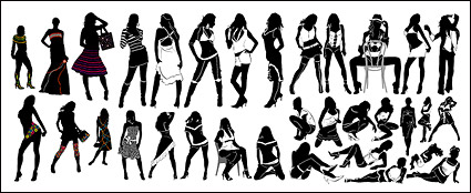 Link toVariety of fashionable female silhouette vector material