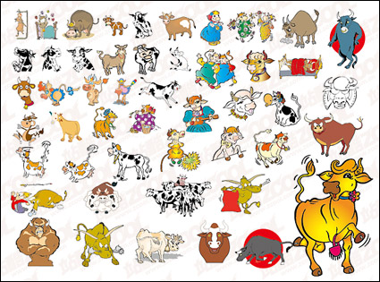 Link toN many cartoon cow vector material