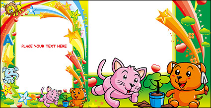 Link toCute colorful animal picture frame vector material