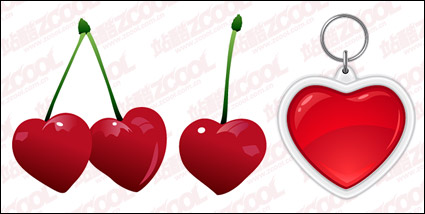 Link toCherries and heart-shaped key chain vector material