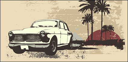 Link toCoconut tree retro style car vector material