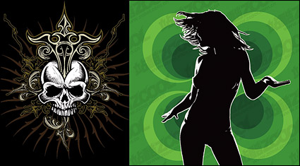 Link toWoman silhouette with the skull vector material