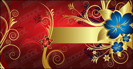 Link toGorgeous golden flower pattern vector material