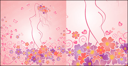 Link toCan love a woman-shaped flowers with the line vector material