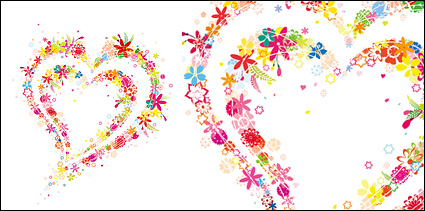 Link toLovely flowers, heart-shaped vector material