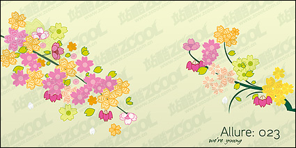 Link toLovely flowers, branches vector material