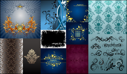 Link toExquisite fashion pattern vector material package-3