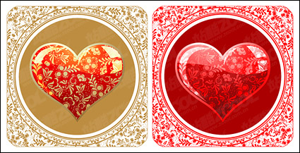 Link toBeautiful crystal style heart-shaped pattern vector material