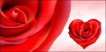 Link toRed rose heart-shaped vector material