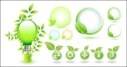 Link toGreen leaves vector icon theme of environmentally-friendly materials
