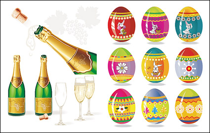 Link toChampagne and easter eggs vector material