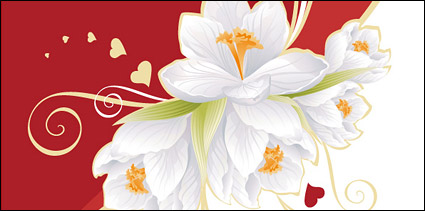 Link toWhite flowers and heart-shaped vector material elements