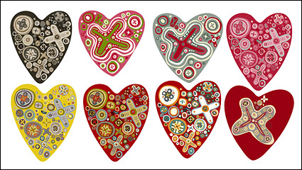 Link toThe trend of a number of lovely heart-shaped vector material