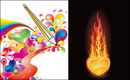 Link to2 heart-shaped design of the theme of the trend vector material
