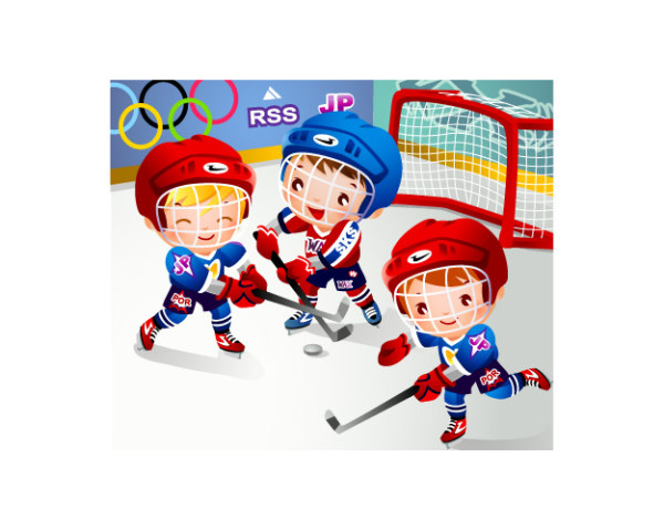 Children's hockey vector material