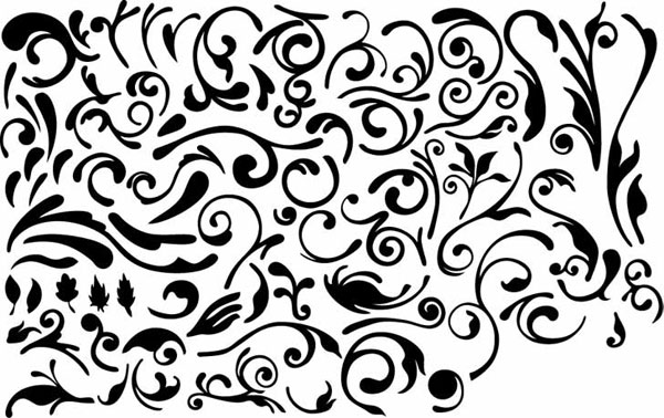 Series of black and white design elements vector material -4 (simple pattern