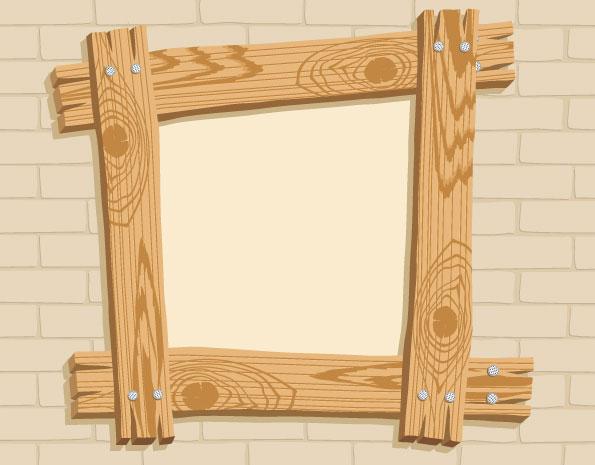 keywords wood frame walls wood nails wood frame brick wall vector ...