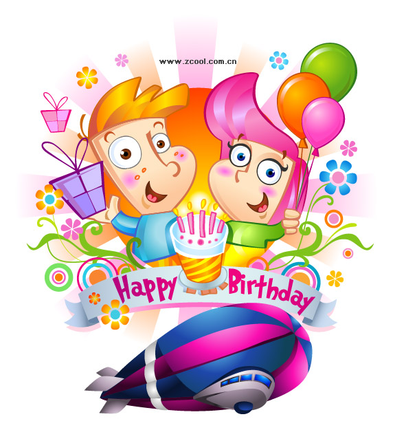 happy birthday cartoon balloons. happy birthday, spacecraft
