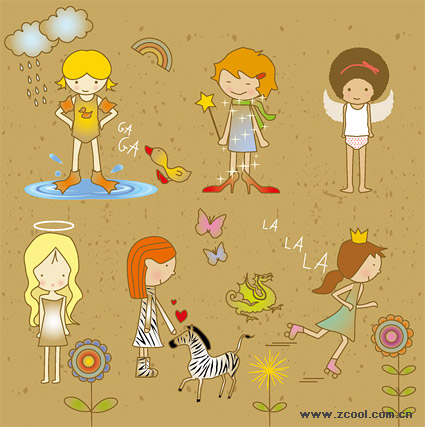 cartoon girl cute.  keyword: Vector cartoon characters, girls, butterfly, day, flowers, cute