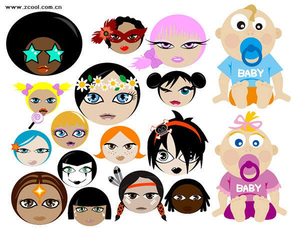 keyword: Vector cartoon characters, lovely, baby, surrender, women,