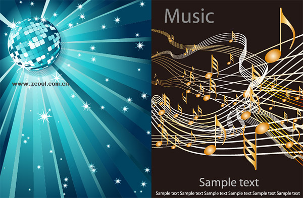 ... music light, radiation, a crystal ball, notes, music, vector material