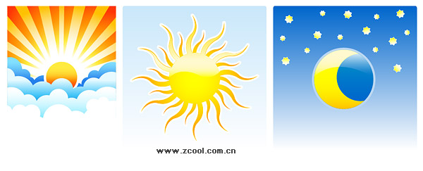 cartoon sun and clouds. the sun, moon, clouds,