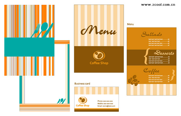 including jpg preview, keyword: Vector catering, menu, business cards,