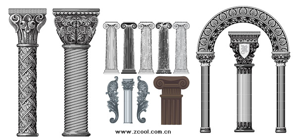 European Style Columns : Number of european style classical columns pattern vector