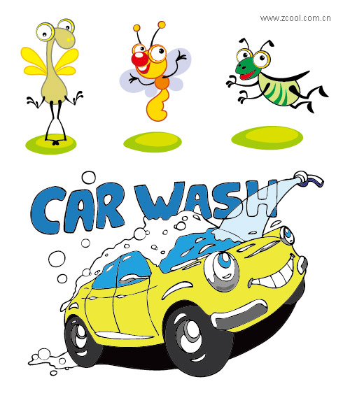 Vector cartoon, cute, seal, butterfly, wings, set, cars, car washing,