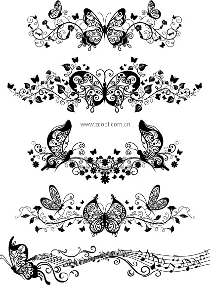 Eps format including preview keyword vector patterns butterfly