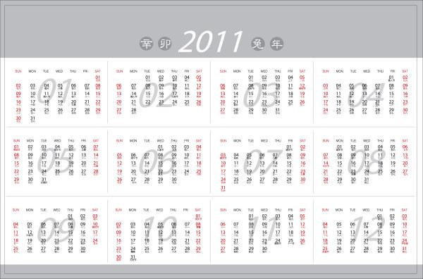 Keyword vector 2011 calendar Calendar Year of the Rabbit Vector material