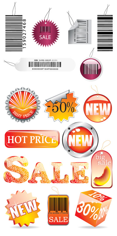 Bar codes, crystal icons, beer cap vector material