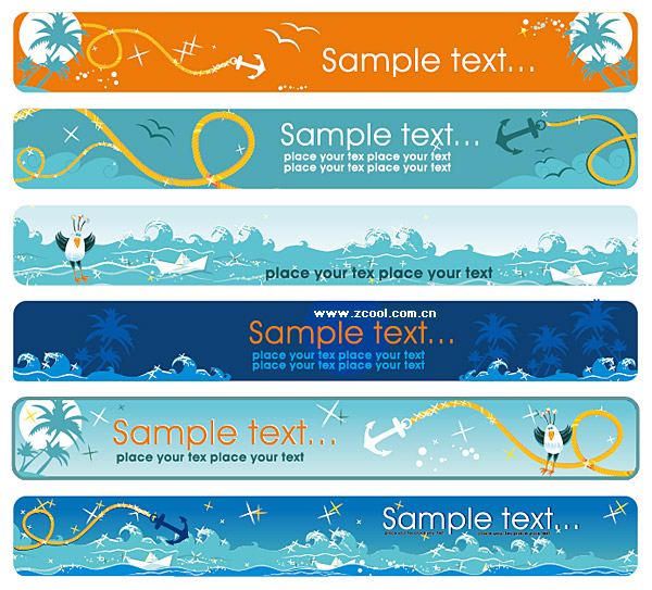 Cartoon Seascape Theme Banner Vector