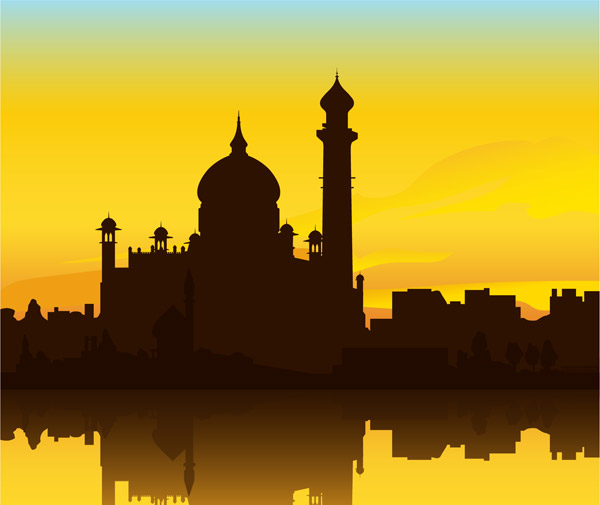 Indian Building Taj Mahal Silhouette Vector Download Free Vector