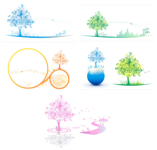 Colorful Vector Icon Tree couleurs douces