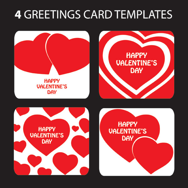 valentine's day heartshaped greeting card template vector