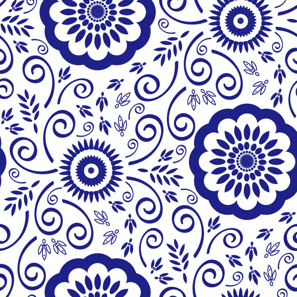 Blue and white pattern vector material