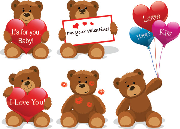 Love teddy bear Vector material Download Free Vector,PSD,FLASH,JPG ...
