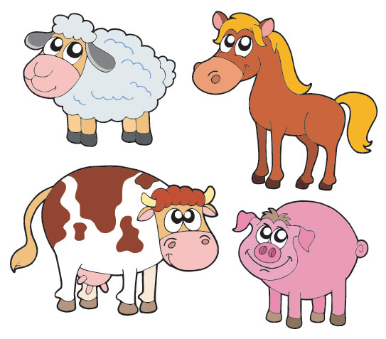 Keywords big pig lamb horse cow cute cartoon animals vector material