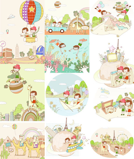 travel theme dream children painting vector material – over, Powerpoint templates