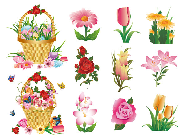 Flower Baskets Vector : Flower series vector material download free psd