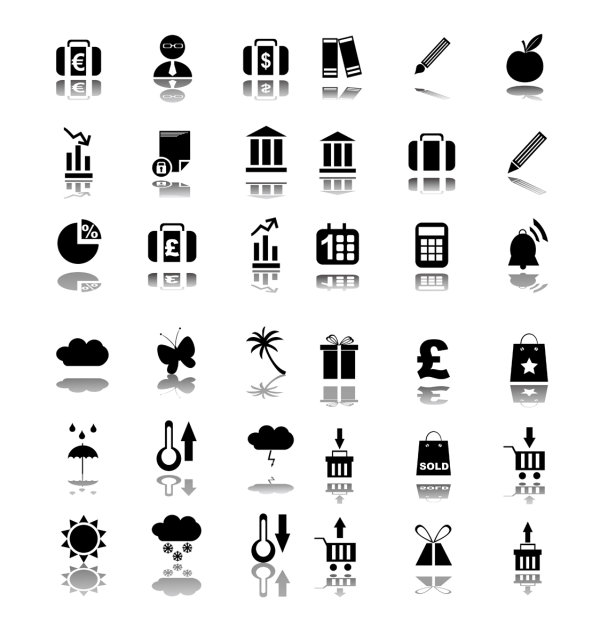 concise black icon vector material download free vector