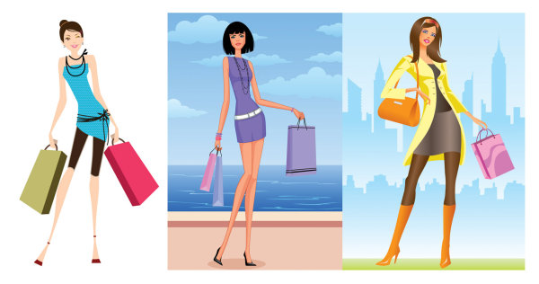 Fashion Shopping Women Vector Material Download Free
