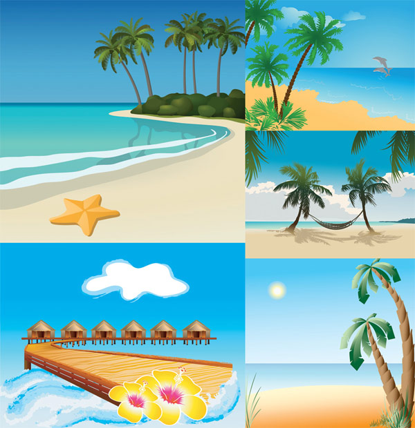 5 vector beach scenery download free vectorpsdflashjpg