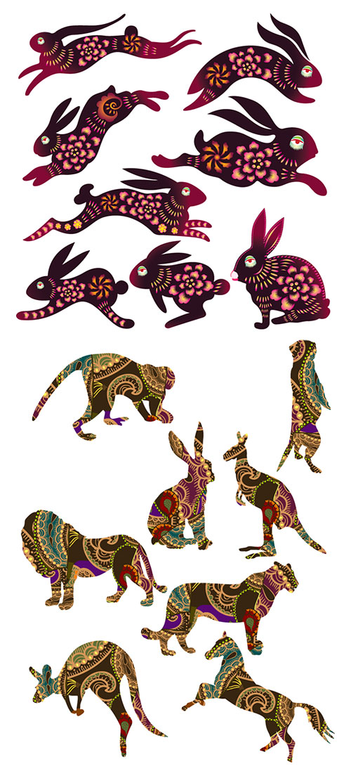 Vector rabbits and other animals