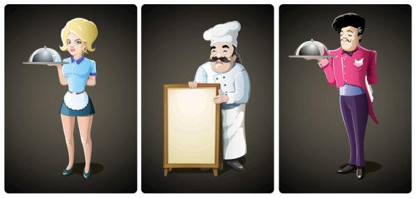 Waiter Cartoon Vector Download Free Vector Psd Flash Jpg