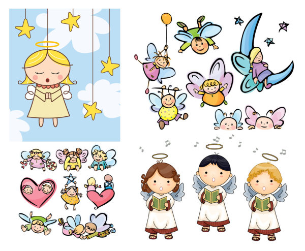 Cartoon Angel Vector Material Download Free Vector Psd