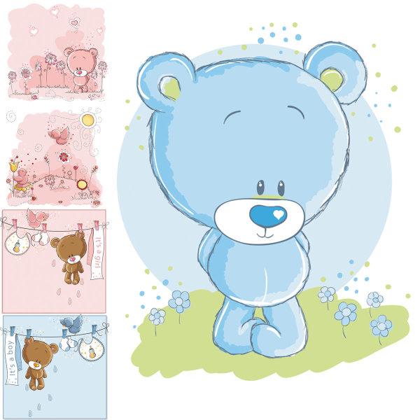 Cute Cartoon Bear Vector Material Download Free Vector