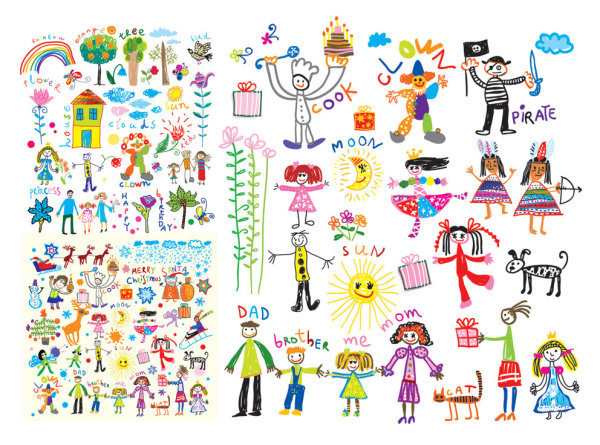 Vector illustrations for children cheerful