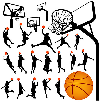 basketball player silhouette. player silhouette basket